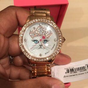 Jewelry - Betsey Johnson rose gold cat watch